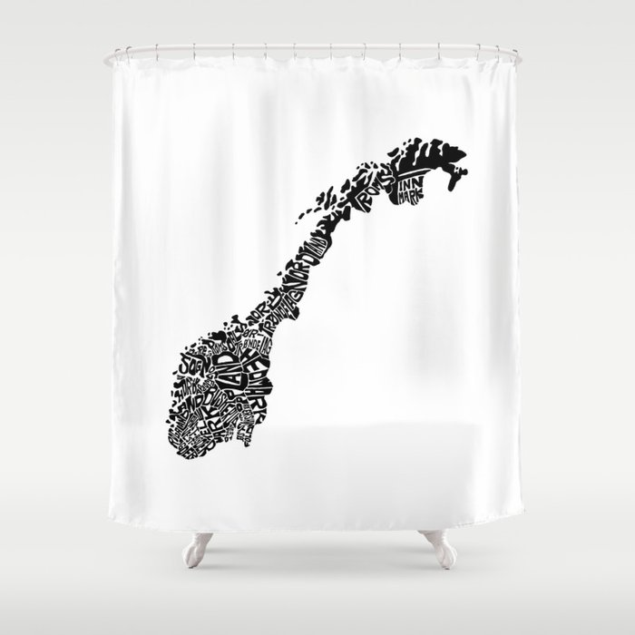 Typographic Norway European Map Art Shower Curtain