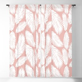 White Tropical Palm Tree Fern Leaf on Rose Gold Pattern Blackout Curtain