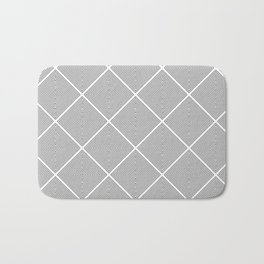 Stitched Diamond Geo Grid in Black and White Bath Mat