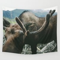 alaska Wall Tapestries featuring Alaska Moose by Andy Barron