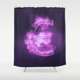 Euro sign, Euro Symbol. Monetary currency symbol. Abstract night sky background. Shower Curtain
