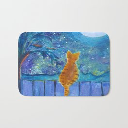Cat on a fence in the moonlight Bath Mat