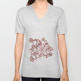 24. Elegant Henna Flower  in Pattern World  Unisex V-Neck