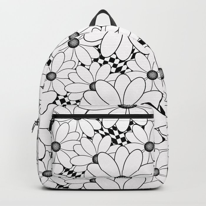 Cute black and white daisies. Backpack