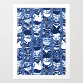 Swedish folk cats I // Indigo blue background Art Print
