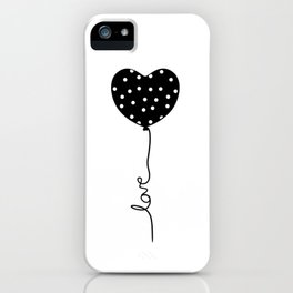 Polka Dot Heart Balloon Love string iPhone Case