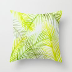 Painted Palm Fronds Throw Pillow