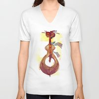 guitar V-neck T-shirts featuring Guitar by tipa graphic