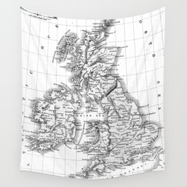 Vintage Map of The British Isles (1864) BW Wall Tapestry