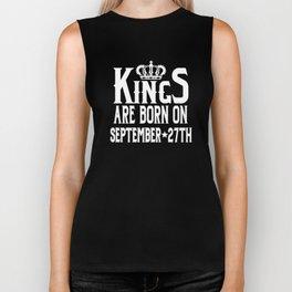 Kings Are Born On September 27th Funny Birthday Biker Tank