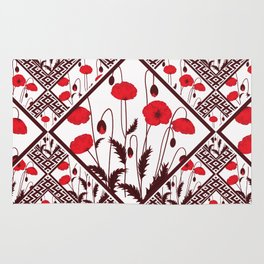 Bright floral pattern on a white background with decorative elements. Rug
