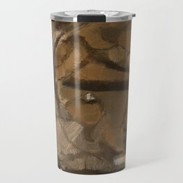 Feather Impressionistic Tan Brown Painting Abstract Realism of Native American Dreamcatcher Travel Mug