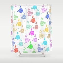 Modern pastel winter holidays coffee hand drawn pattern Shower Curtain