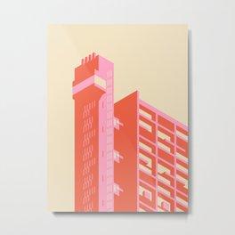 Trellick Tower London Brutalist Architecture - Plain Cream Metal Print
