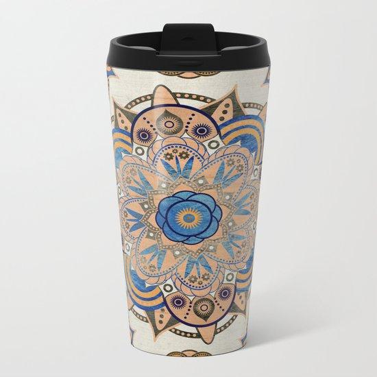 Blue and Gold Mandala Metal Travel Mug