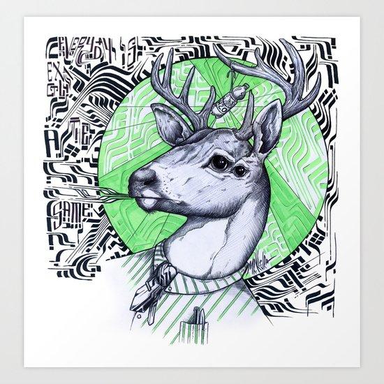 Deer in Dress Code  Art Print