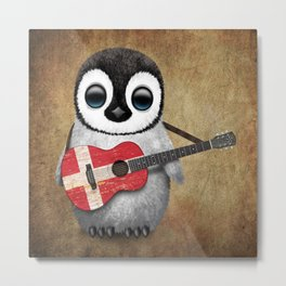 Baby Penguin Playing Danish Flag Acoustic Guitar Metal Print