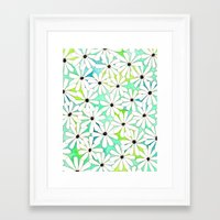 daisies Framed Art Prints featuring Daisies by messy bed studio