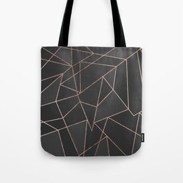 Chic Rose Gold Geometric Outline on Black Charcoal Tote Bag