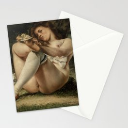 Woman with White Stockings by Pierre-Auguste Renoir Stationery Cards