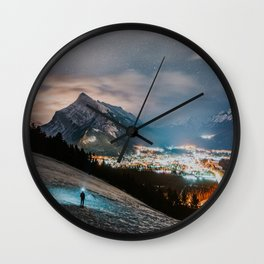 Banff at night Wall Clock