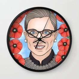 Ruth Bader Ginsburg portrait with poppies Wall Clock