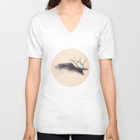 elk V-neck T-shirts featuring Elk by hipepper