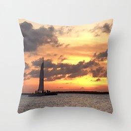 Key West sailing into Sunset Throw Pillow