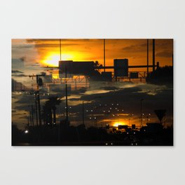 BINARY SUNDOWN - ORANGE Canvas Print