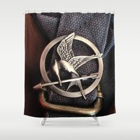 mockingjay Shower Curtains featuring Mockingjay by AndyGD