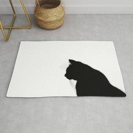 Black cat silhouette Rug