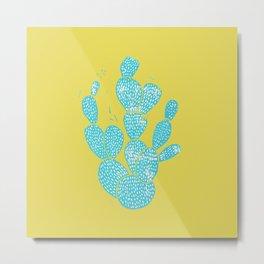 Linocut Cactus #1 Desert Blue Metal Print