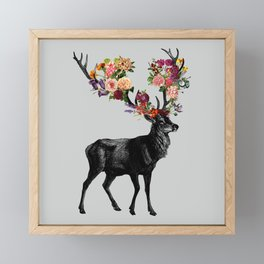 Spring Itself Deer Floral Framed Mini Art Print