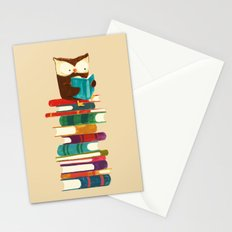 Owl Reading Rainbow Stationery Cards