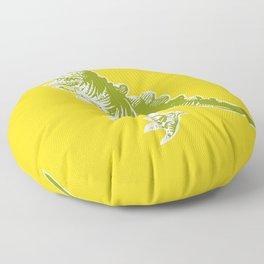 Dino Pop Art - T-Rex - Yellow & Olive Floor Pillow