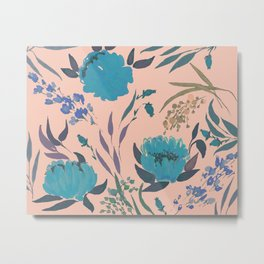 hand draw watercolor floral pattern design Metal Print