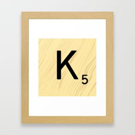 Scrabble K Decor, Scrabble Art, Large Scrabble Tile Initials Framed Art Print