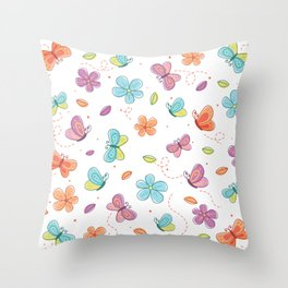 Colorful Butterflies And Flowers Pattern Throw Pillow
