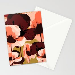 Coral and Brown Color Poppies on Dark Yellow Background #decor #society6 #buyart Stationery Cards