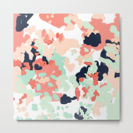 Suma - abstract gender neutral trendy home office nursery decor painting Metal Print