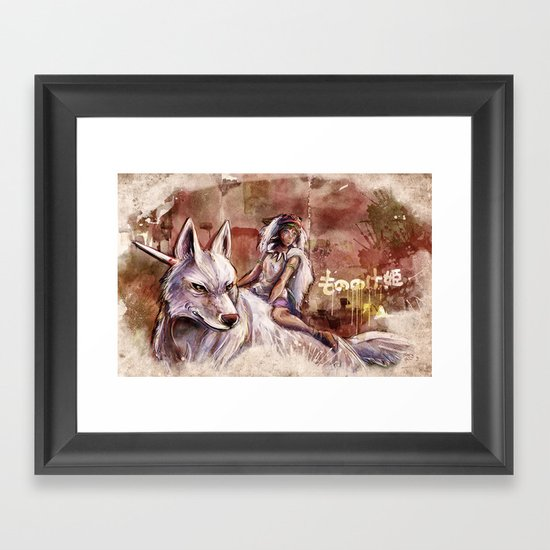 Miyazaki's Mononoke Hime - San and the Wolf TraDigital Painting Framed Art Print