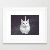 unicorn Framed Art Prints featuring Unicorn Cat by Oh Monday