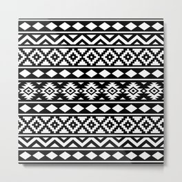 Aztec Essence Ptn III White on Black Metal Print