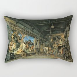 The Studio Before The Auction 1855 by Rudolf von Alt | Reproduction Rectangular Pillow