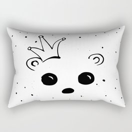Bear king with crown in black and white doodle drawing Rectangular Pillow