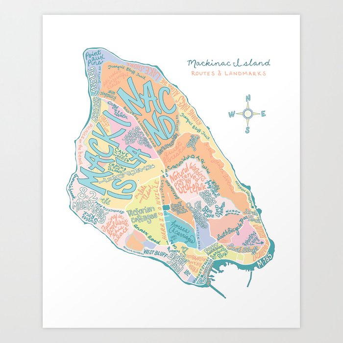 Mackinac Island Map : pastels Art Print by katedupre on lake huron map, grand rapids map, michigan map, ottawa island map, crespo island map, somerset island map, isle royale map, saint joseph island map, ionia island map, lawrence island map, douglas island map, great lakes map, bois blanc island map, traverse city map, mackinaw city map, tahquamenon falls map, lake island map, drummond island map, raspberry island map, st. louis island map,