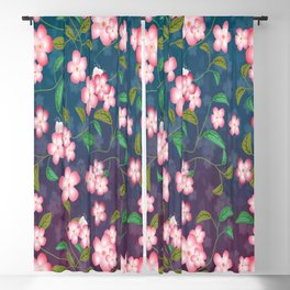 Cherry Blossoms and Leaves Blackout Curtain