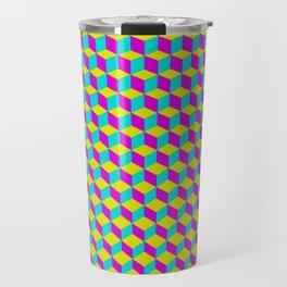 Colorful 3D Cubes Pattern Travel Mug