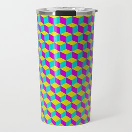 Colorful 3D Cubes Pattern Travel Mug