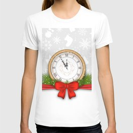 Picture New year Clock Snowflakes Bowknot Vector G T-shirt